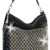 * Rhinestone and Tassel Accented Layered Fashion Hobo In Black