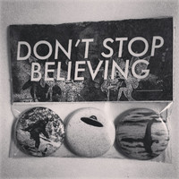 """bigfoot, ufo and loch ness monster """"don't stop believing"""" pin pack."""
