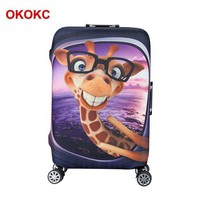 DCCKU62 OKOKC Cartoon Giraffe Pattern Elastic Luggage Cover Apply to 19''-32'' Suitcase Cover Thick , Travel Accessories