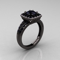 Black Diamond Engagement Ring - $4900