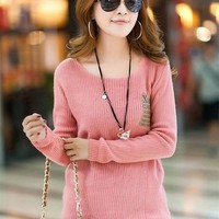 Woman's Round Neck Sweater Shirt with Pocket Front