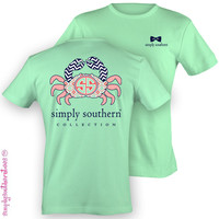 Simply Southern Collection Crab Chevron Sweet Girlie Bright T Shirt