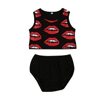 Summer born Infant Baby Girls Red Lips Top Sleeveless Tank Top + Shorts Brief Outfits Clothes 6M-3T