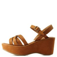 Chestnut Bamboo Strappy Platform Wedge Sandals
