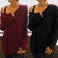 T-shirt Women Fashion Long Sleeve Cut-Out Off Shoulder Tops = 1838836932