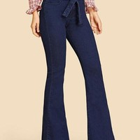 New Dark Blue Pockets Bow Zipper High Waisted Long Flare Jeans