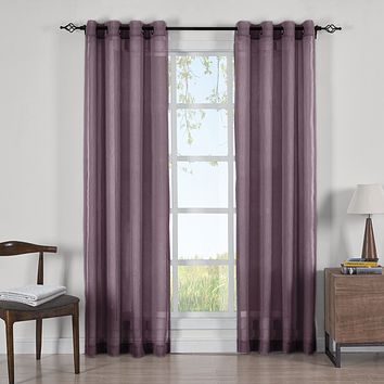 EGGPLANT Abri Grommet Crushed Sheer Curtain Panels (Two Panels )