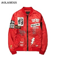 Aolamegs Jacket Men Print Plus Size Stand Collar Bomber Jacket Fashion Casual Outwear Men's Coat Bomb Baseball Jackets Brand New