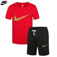 NIKE 2018 new trend casual sports T-shirt shorts two-piece red