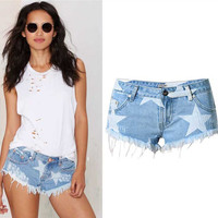 Fashion Casual Female Star Star Print Worn Tassel Shorts Jeans Hot Pants