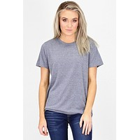Basic Short Sleeve Heathered Tee {Navy} - Size SMALL