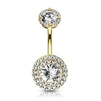 Double Tier Paved CZ Around Large CZ with Internally Threaded Matching Top 316L Surgical Steel WildKlass Belly Rings