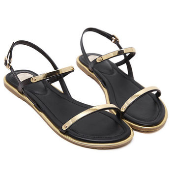 Gold Accent Buckle Strap Sandals