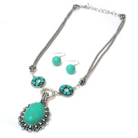 Turquoise Necklace & Earring Set w/ Mini Rosette Accents Color: Turquoise