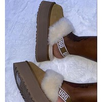 UGG fashion hot sale plush thick bottom toe slippers Shoes Boots