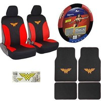 Licensed Official Wonder Woman Car Truck Front Seat Covers Floor Mats Steering Wheel Cover & Decal