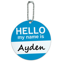 Ayden Hello My Name Is Round ID Card Luggage Tag