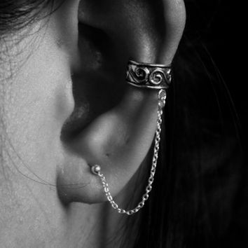 925 Sterling Silver Cartilage Ear Cuffs - Oxidized Ear Cuffs - Chained Ear Cuffs - Ear Cuff with Chain - Non Pierced Ear Cuffs, Gift for her