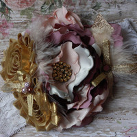 GIRL HEADBAND, baby, toddler, purple, gold, lilac, lavender, royalty, well dressed, fancy, over the top, photo prop, ooak, matilda, shabby