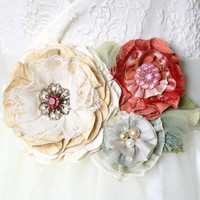 Floral Bridal Gown Sash - Coral, Pink, Mint and Ivory Blooms