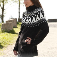 Woman sweater, nordic knitwear, alpaca sweater, jumper, fair isle jumper, handknit sweater, jaquard pullover, black sweater, nordic, Lilith
