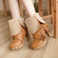 Tassel Ankle Boots Winter Fur Collar High Heels Platform Women Shoes