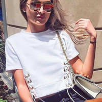 Summer Women's Fashion Short Sleeve Sexy Crop Top Tops T-shirts [11641559311]