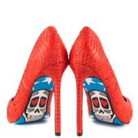 American Skull Red Snake Graphic Print Pointy Toe High Heel Pump Shoes