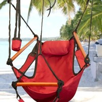 Best Choice Products® Hammock Hanging Chair Air Deluxe Sky Swing Outdoor Chair Solid Wood 250lb Red