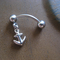 Tiniest Anchor Rook Eyebrow Piercing 16g 16 G Gauge Jewelry Nautical Charm Dangle Top Down Bottom Belly Button Navel Ring Barbell Bar