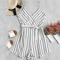 Womens V-Neck Off Shoulder Sling Sleeveless Strappy Holiday Short Playsuits Striped Cami Belt Romper Jumpsuit bodysuit mono #2S