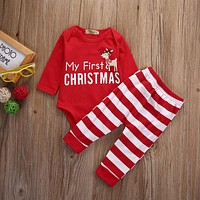 Christmas Newborn Baby Boy Girl Clothes Set Romper Tops Pants Leggings 2PCS Baby XMAS Outfits Set