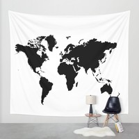 Black and White world map Wall Tapestry by Haroulita   Society6