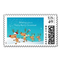 Reindeer Wishing you a very Merry Christmas Stamps