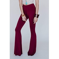 Cher Solid Raw Edge Flare Pant - Burgundy