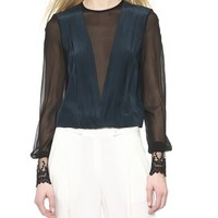 Yigal Azrouel Pleated Front Lace Cuff Top