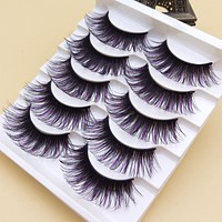 YOKPN Handmade Purple Black False Eyelashes Stage Show Makeup Lashes Thick Exaggerated Eyelashes Soft Curl Long Eyelashes