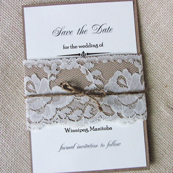 Rustic Country Shabby Chic Lace and Burlap Twine Wedding Save the Date Invitation