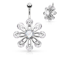 Petal Flower with Round CZ Center 316L Surgical Steel Belly Button 14ga Navel Rings Body Jewelry