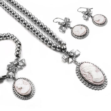 Silver Cameo Necklace, Cameo Bracelet and Cameo Earrings