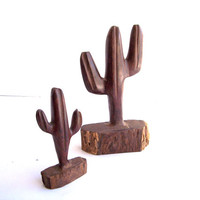 Vintage Hand Carved Cactus Statue Pair