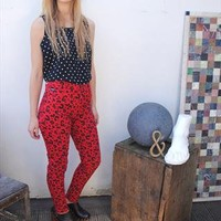 90s Vintage High Waist Red leopard Print Jeans Trousers 8 36 from The Gingham Deer