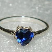 Sapphire heart ring sterling