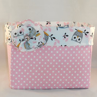Owl Themed Pink and White Square Fabric Basket With Detachable Fabric Flower Pin For Storage Or Gift Giving