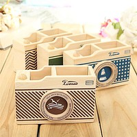 Vintage Wooden Camera Pattern Desk Pen Holder Pencil Stationery Sundries Storage
