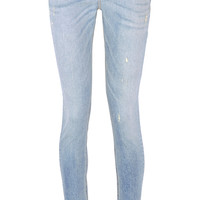 Rag & bone - The Skinny distressed mid-rise jeans