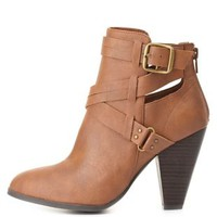 Belted Cut-Out Chunky Heel Booties by Charlotte Russe - Cognac