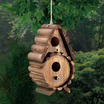 Wood Log Cabin Bird House with Round Front