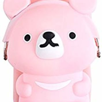 UnnFiko 3D Cartoon Pocket Case for iPhone X, Pink Cute Bear Purse Stand Holder, Squishy Soft Silicone Protective Phone Case for Girls Women (iPhone X)