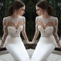 Sexy Sheer Lace Long Evening Formal Party Dress Gown Prom